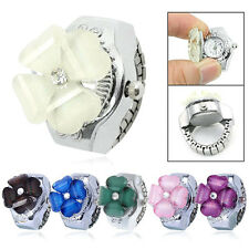 Woman Child Lady Girl White Clover Elastic Round Dial Quartz Finger Ring Watch