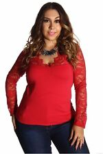 121AVENUE Gorgeous Lace V-Neck Top 1X Women Plus Size Red Evening, Occasion