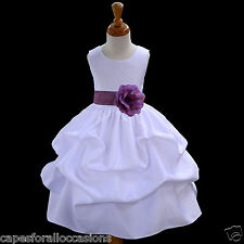 WHITE BRIDESMAID FORMAL WEDDING FLOWER GIRL DRESS 12-18M 2/2t 3t 4/4T 5/6 7/8 10