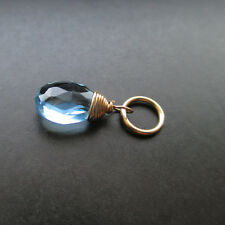 Aquamarine Quartz Gemstone Charm with Jump Ring Interchangeable Pendant