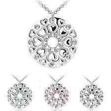 Round Pendant Necklace with Hearts and Austrian Crystals