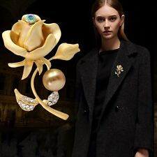 New Flower Corsage Rhinestone Pearl Diy Womens Gold Silver Pins Brooches Jewelry