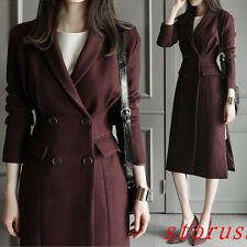 Women Winter Long Blazer Double-breasted Wool Coat Jacket Slim Fit Overcoat Size