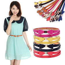 Fashion New Women Candy Color Bow Waistband Leather Thin Skinny Buckle Belt us