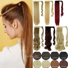 Womens Lace up Horsetail Long Hair Piece Ponytail Curly Clip Hair Extension Tsc