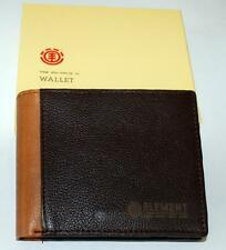 ELEMENT FLIP WALLET NEW sycamore Chocolate Real LEATHER MENS LOGO bifold Surf