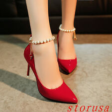 Sexy Women High Stiletto Heel Pointy Toe Pump Shoes Pearl Pull On Shoes OL Dress