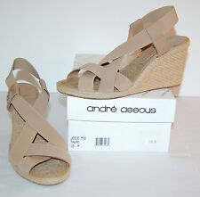 New $158 Andre Assous Josie Mid Wedge Sandal Taupe Beige Espadrille Strappy