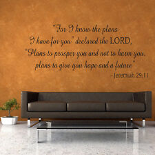 FOR I KNOW THE PLANS Jeremiah 29:11 Vinyl Wall Quote Word Decal God Scripture V2
