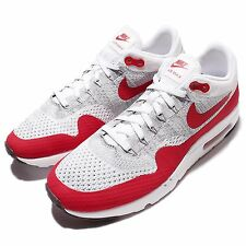 Nike Air Max 1 Ultra Flyknit White Grey Red Mens Running Shoes OG 843384-101