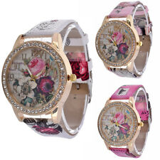 Fashion Womens Wrist Watch Flower Rose Leather Crystal Casual NEWEST Girl Watch