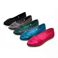 Womens Slip On  Pointy Toe Loafers Moccasins Comfy Ballet Flats Shoes Satin 2016
