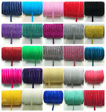 "NEW 5 10 50 Yards 3/8"" Velvet Ribbon Headband Clips Bow Decoration Pick Colors"