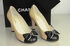 $850 16C New Chanel Beige Black Leather Bow Pearls CC Logo Heels Pumps Shoes 40