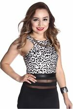 121AVENUE Sexy Animal Print Crop Top S M Small Medium Women Black Short Sleeve