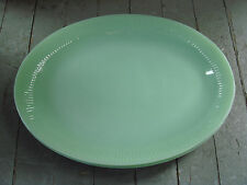 """Vintage Fire King Jadeite Glass Jane Ray Ribbed 12"""" x 9"""" Oval Plates Lot of 3"""