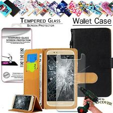 Leather Wallet Case+100%Tempered Glass Screen Protector For Huawei Ascend Mobile
