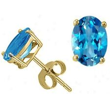 1.00-3.50CT WOMEN STYLISH 14K YG BLUE TOPAZ OVAL SHAPE STUD EARRINGS PUSH