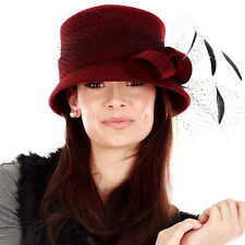 INSTANTLY FABULOUS - WOOL FELT BUCKET STYLE  HAT  - BLACK, BURGUNDY RED - W1423