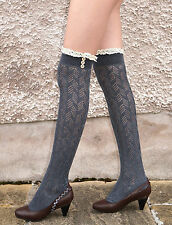 Ladies Heather Grey Off White Black Over Knee Pelerine Socks with Lace & Buttons