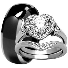 3 PC Mens Black Tungsten Band Womens Stainless Steel Heart Halo Wedding Ring Set