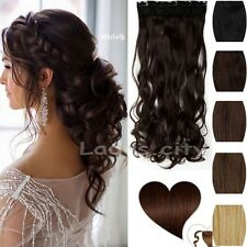 100% Natural Women Full Head Clip In Hair Extension Real Thick Hair Piece SCF