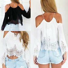 Sexy Women Casual Boho Lace Off Shoulder Shirt Summer Crop Tank Tops Blouse NEW