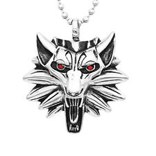 Stylish Mens Jewelry Cool Stainless Steel Wolf Head Pendant Necklace Gift