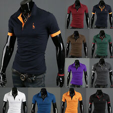 New Men's Stylish Fitted Slim Polo Shirts Short Sleeve Casual T-shirts Tee Tops
