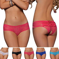Women Convenient  Sexy Bowknot Lace Briefs Translucent Open Crotch Underwear