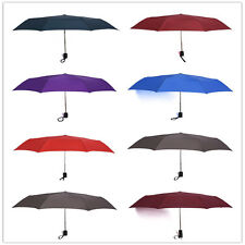 Assorted Pure Color Windproof Umbrella Automatic Foldable Compact for Travel US