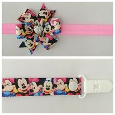girls baby headband dummy clip hair bow mickey minnie mouse pacifier party binky