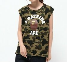 A BATHING APE 1ST CAMO COLLEGE SLEEVELESS TEE BAPE Tops Womens T-shirt New Japan