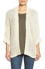 Eileen Fisher Cotton Linen Rib Straight Cardigan Sweater, Soft White, LGE, NWT