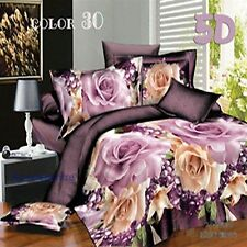 3D Bedding Quilt Doona Duvet Cover Bed Sheet Pillowcase Set Queen -Rose  &  Rose