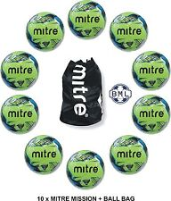 10 x MITRE MISSION FOOTBALLS + BALL SACK - NEON GREEN - Sizes 3, 4 and 5