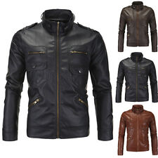 Mens Stylish & Slim Fit Stand Collar PU Leather Biker Motorcycle Jacket Coat Top