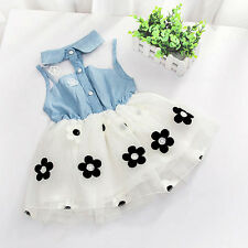 Summer Princess Girl Baby Sleeveless Denim Shirt Dress Tulle Skirt Tutu Dress