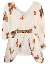 New Womens Plus Size Kimono Chiffon Butterfly Print Lined Belted Tops 12-18