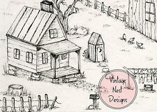 Cabin No.1 - Pen/Ink - Artist Print - ACEO, Greeting Card, Post Card