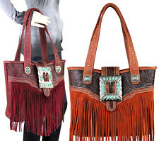 Trinity Ranch® Concealed Carry, Leather Fringe Big BuckleTote w/ TQ Accents