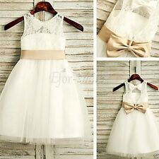 Lace Flower Girl Dress Princess Vintage Special Occasion Party Wedding Dress