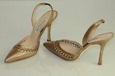 $865 NEW MANOLO BLAHNIK NAVE Carolyne Shimmery Pearly Beige Patent SHOES 37