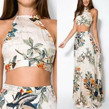 Boho Women's Sexy Halter Crop Top+Long Skirt Floral Print Maxi Dress 2PCS Dress
