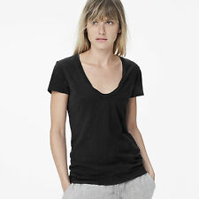 JAMES PERSE WOMEN'S BASIC CASUAL DEEP NECK TEE, FIG: STYLE #WSVH3182CU