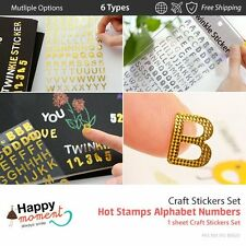(6 Types) Hot Stamps Alphabet Numbers Craft Stickers Set Scrapbooking 1 sheet