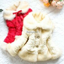 NEW Girls Baby Toddler Faux Fur Warm Fleece Pearl Flowers Jacket Coat 2-6T ES9P