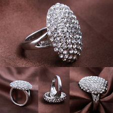Fashion Women's Wedding Ring Engagement Rings Silver Crystal Jewelry  EF