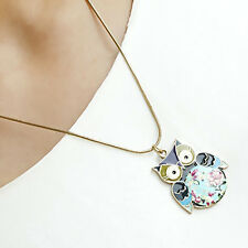 Women Precious Jewlery Enamel Colorful Vivid Cute Owl Pendant Chain Necklace