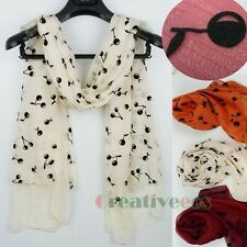 New Fashion Flocking Cherry 2-Layer Chiffon Infinity Scarf/Long Wrap Scarf Shawl